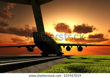 The passenger plane on the runway - stock photo