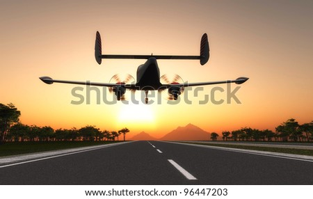 The passenger plane on the runway  at sunset. - stock photo
