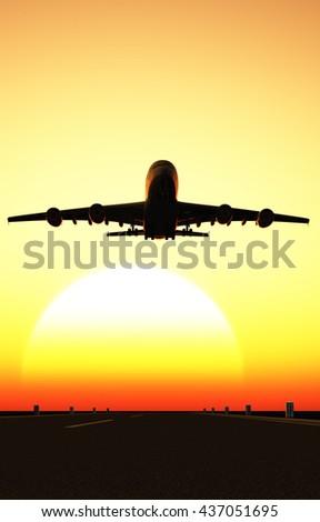 The passenger plane on the runway. 3d render - stock photo
