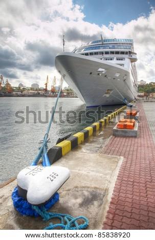 The passenger ship in port - stock photo