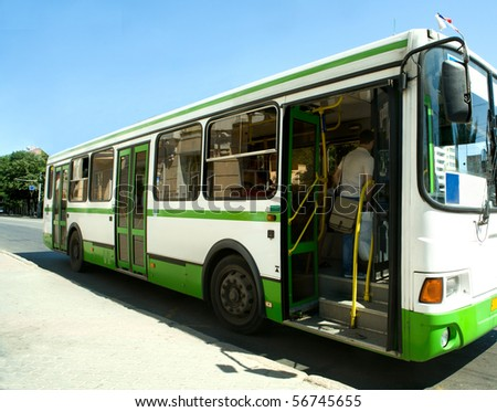 The Passzhirsky bus in a city - stock photo