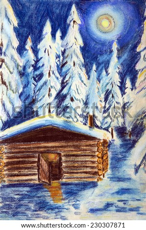 The pastel drawing on paper. The hut in the winter forest on a moonlit night - stock photo