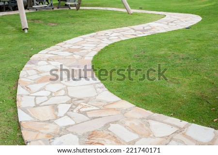 The path in the garden. - stock photo