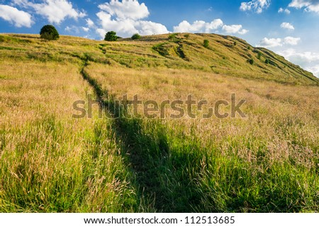 The path on the hill in Scotland - stock photo