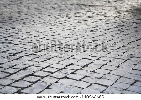 The pattern of stone block paving - stock photo