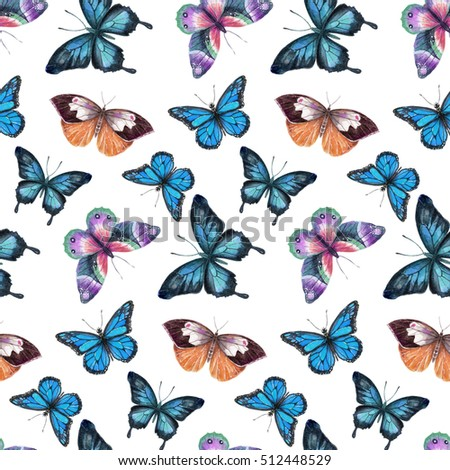 The pattern of  watercolor butterflies, hand drawing illustration. The pattern on white background.