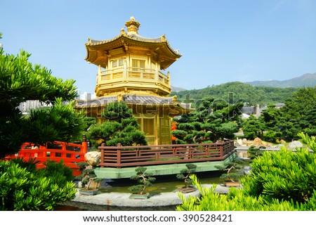 The Pavilion Golden Pagoda, Nan Lian Garden, a public park, Hong Kong  - stock photo
