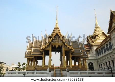 The Pavilion in The Grand Palace and The Emerald Buddha Temple. - stock photo