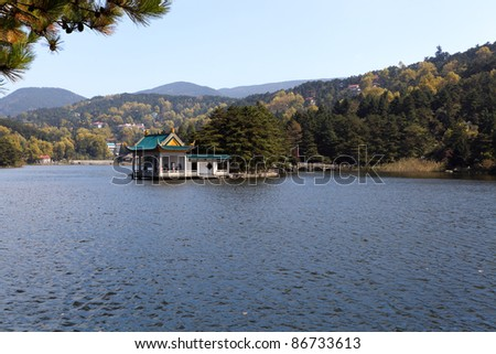 the pavilion in the lake at autumn in lushan,China