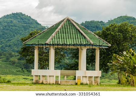 the pavilion with mountain background