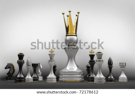 The pawn has won. Chess. 3d illustration. - stock photo