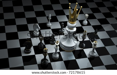 The pawn has won. Chess. 3d illustration.