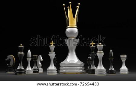 The pawn has won. Chess. 3d illustration. on black - stock photo
