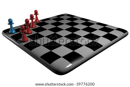 the pawns on the chessboard - stock photo