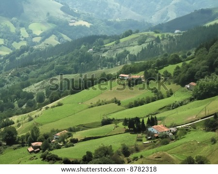 The pays basque countryside pyrenees atlantique aquitaine, France.
