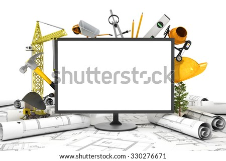 The PC screen with object for construction. Blueprints and safety helmet over a table in construction site. - stock photo