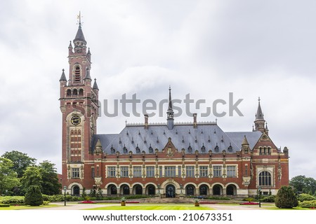 The Peace Palace in The Hague (Netherlands) is home to a number of international judicial institutions, including the International Court of Justice (ICJ), the Permanent Court of Arbitration (PCA). - stock photo