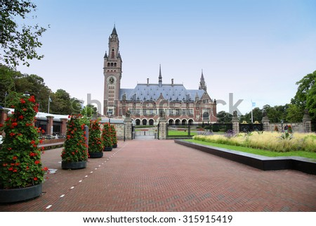 The Peace Palace - International Court of Justice in The Hague, Holland - stock photo