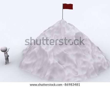 The peak is the success. - stock photo