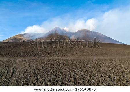The peak of Etna, Sicily - stock photo
