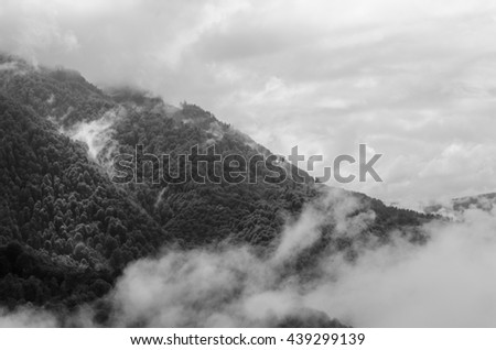 The peak of the mountain in a fog, top view