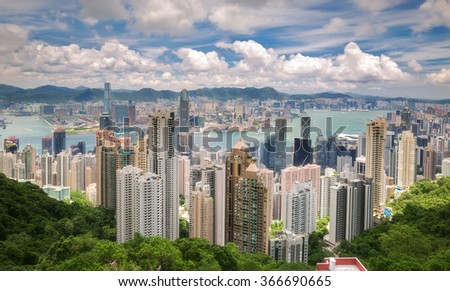 The peak, Victoria park view on day time for Hong kong island and Kowloon - stock photo