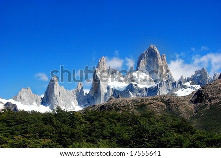 the peaks of fitz roy with a forest - stock photo
