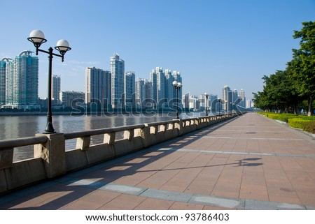 The Pearl river, sightseeing walkway and cityscape of the Guangzhou China. 2010 was held successfully in Guangzhou Asian Games.