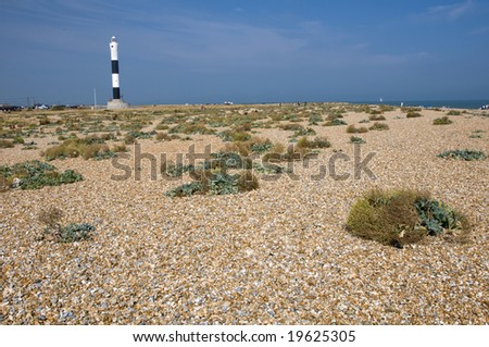 The pebble beach at Dungeness with the new lighthouse in the distance - stock photo
