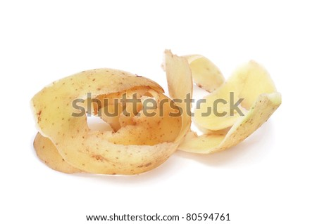 the peel of a potato on a white background - stock photo
