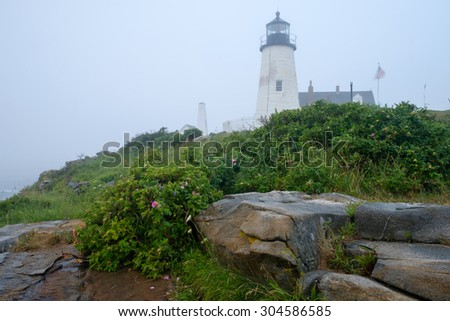 The Pemaquid lighthouse enveloped in heavy fog sitting on the Maine Coast pre dawn light  - stock photo