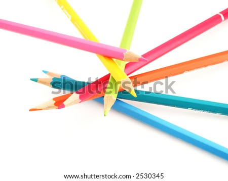 The pencils of different bright colors for arts - stock photo
