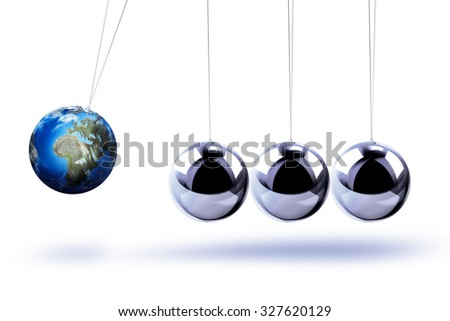 The pendulum of Newton as the Earth symbolizing the risk, dynamics, fragility, etc. On the white background - stock photo