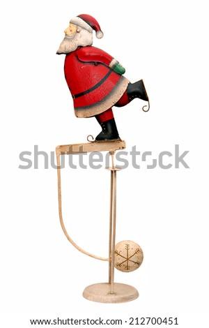 the pendulum Santa Claus isolated on white background - stock photo