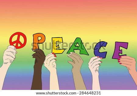 The People of Peace - Illustration symbolic representative the hands of persons of different races who write the word Peace - stock photo
