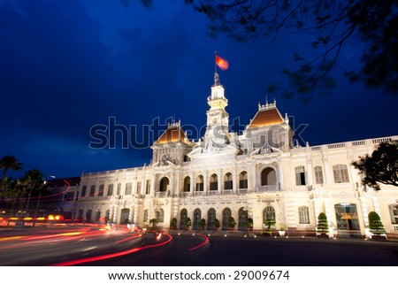 The People's Committee building, also named Hotel de Ville, located in Saigon, Ho Chi Minh city, in dusk.