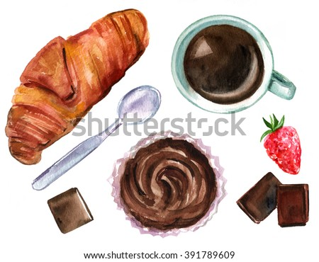 The perfect breakfast illustration with a hand drawn (overhead view) watercolor croissant, a cup of coffee, chocolate pieces, a strawberry, and a cupcake, on white background - stock photo