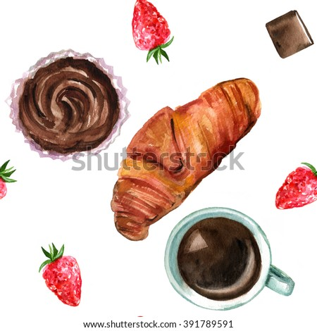 The perfect breakfast seamless background with a hand drawn (overhead view) watercolor croissant, a cup of coffee, chocolate pieces, a strawberry, and a cupcake - stock photo