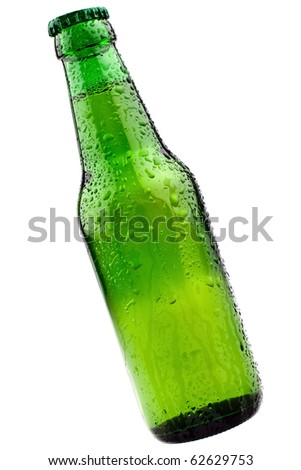 The Perfect Cold Green Beer Bottle, completely isolated on white - stock photo