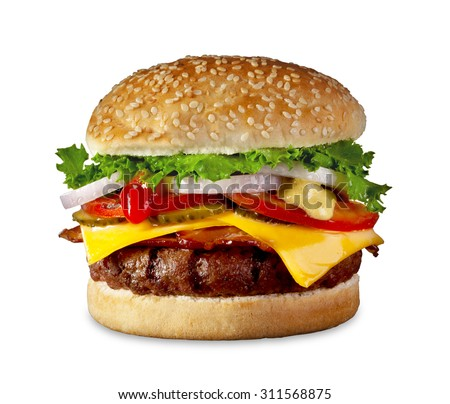 The perfect hamburger with cheese, bacon, pickles, tomato, onions and lettuce. - stock photo