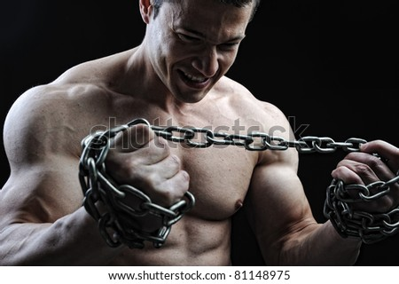 The Perfect male body - Awesome bodybuilder posing - stock photo