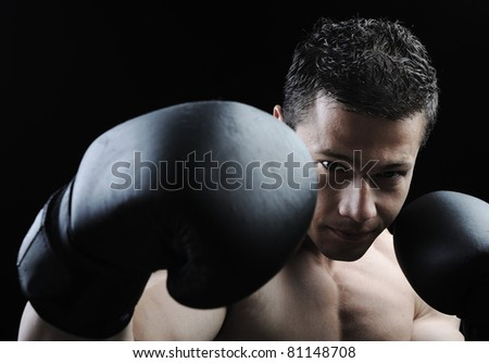 The Perfect male body - Awesome boxing fighter - stock photo