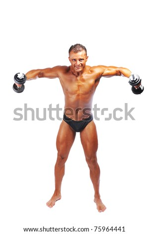 The Perfect male body isolated, bodybuilder performance