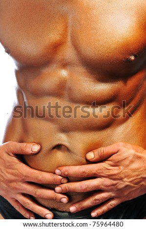 The Perfect male body isolated, bodybuilder's ABS - stock photo