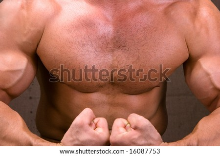 The Perfect male body isolated on braun background - stock photo