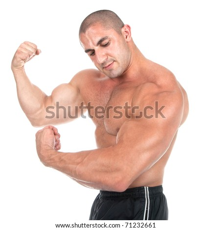 The perfect muscular male body, studio shot - stock photo