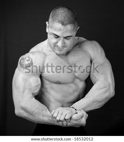 The Perfect Muscular male model, black and white - stock photo