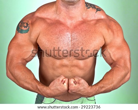 The Perfect Muscular male model show torso - stock photo