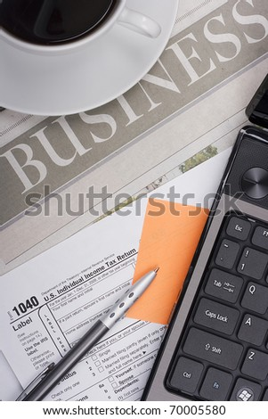 The period for filing tax returns, form to fill tax returns and office accessories.
