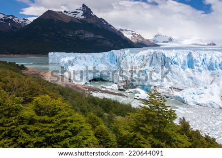 The Perito Moreno Glacier is a glacier located in the Los Glaciares National Park in  Argentina. - stock photo